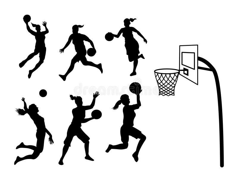 Σκιαγραφία παίχτης μπάσκετ γυναικών διανυσματική απεικόνιση