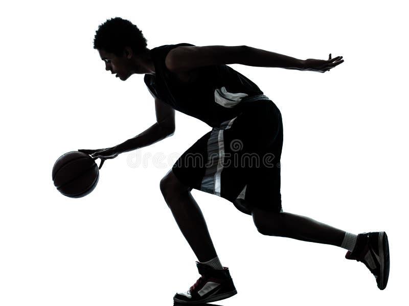 Σκιαγραφία παίχτης μπάσκετ στοκ φωτογραφίες με δικαίωμα ελεύθερης χρήσης