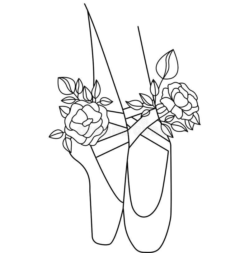 Σκιαγραφία παπουτσιών μπαλέτου με τα λουλούδια peony Σχέδιο για την κάρτα ελεύθερη απεικόνιση δικαιώματος