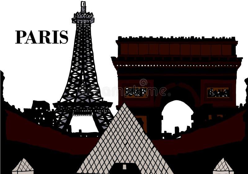 Σκιαγραφία Παρίσι με τον πύργο του Άιφελ και μουσείο ανοιγμάτων εξαερισμού απεικόνιση αποθεμάτων