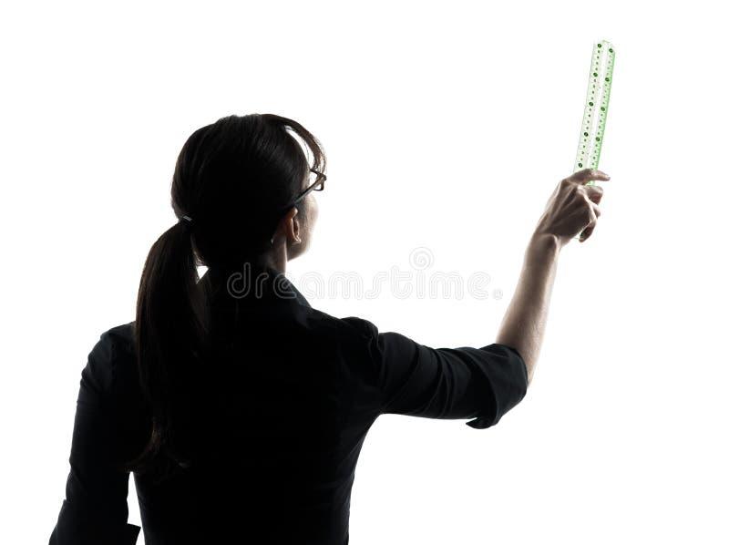 Σκιαγραφία παρουσίασης δασκάλων επιχειρησιακών γυναικών στοκ εικόνες