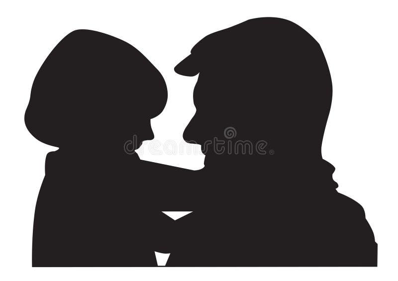 σκιαγραφία πατέρων παιδιών διανυσματική απεικόνιση