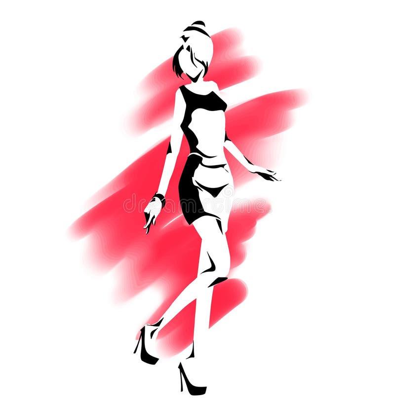 Σκιαγραφία περιλήψεων του λεπτού κομψού κοριτσιού στο πλήρες μήκος απεικόνιση αποθεμάτων