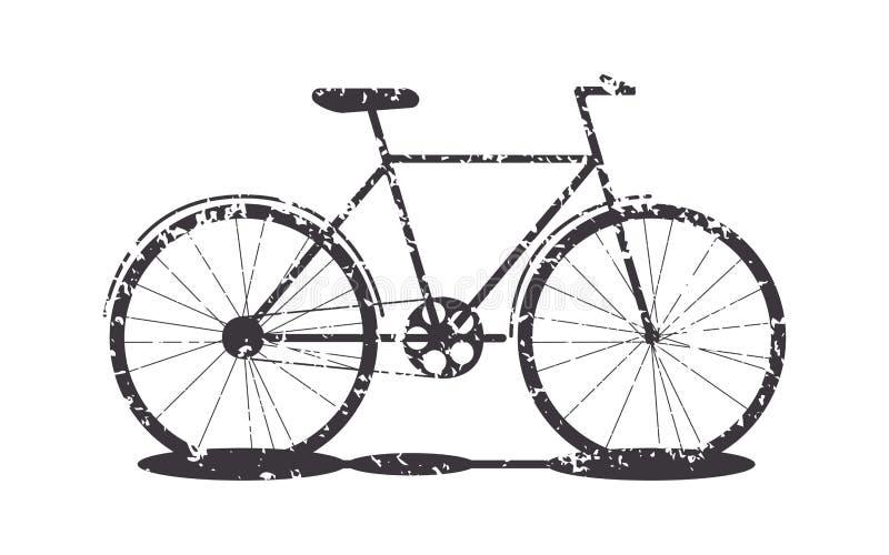 Σκιαγραφία ποδηλάτων μεταφορών αντικειμένου grunge ελεύθερη απεικόνιση δικαιώματος