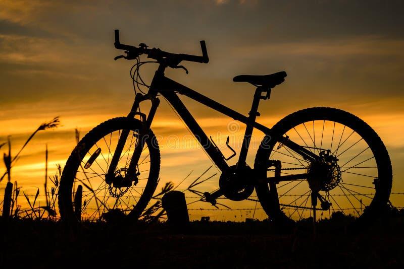 Σκιαγραφία ποδηλάτων σε ένα ηλιοβασίλεμα στοκ εικόνες με δικαίωμα ελεύθερης χρήσης