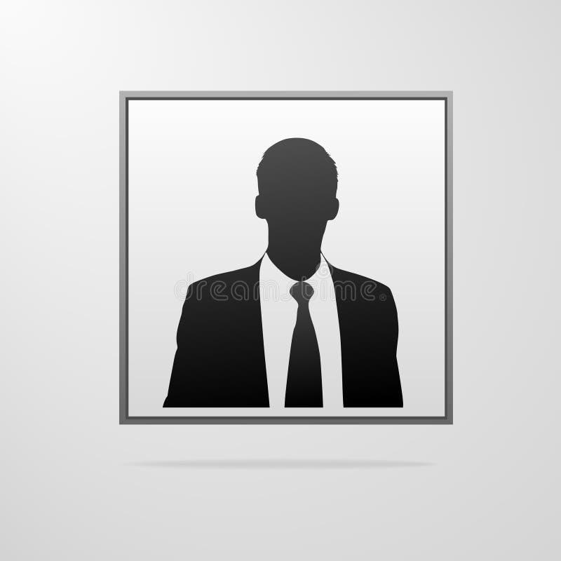 Σκιαγραφία πορτρέτου επιχειρηματιών, αρσενικό είδωλο εικονιδίων διανυσματική απεικόνιση