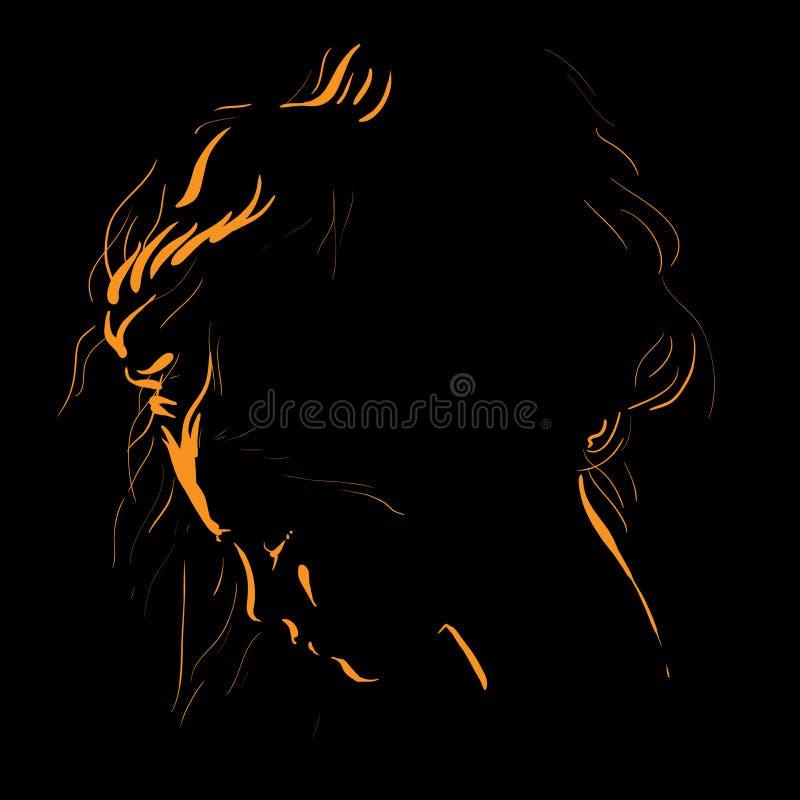 Σκιαγραφία προσώπου γυναικών στο backlight τα όμορφα μάτια φωτογραφικών μηχανών τέχνης διαμορφώνουν την πλήρη γοητεία που τα πράσ απεικόνιση αποθεμάτων