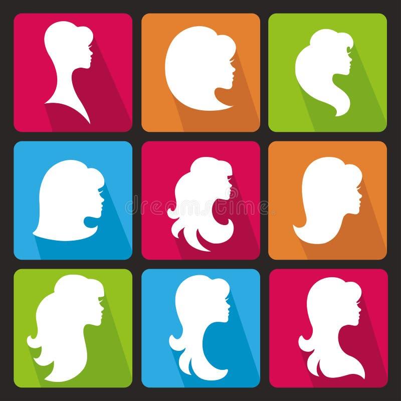 Σκιαγραφία προσώπου κοριτσιών Ύφος τρίχας σχεδιαγραμμάτων εικονίδια που τίθενται απεικόνιση αποθεμάτων