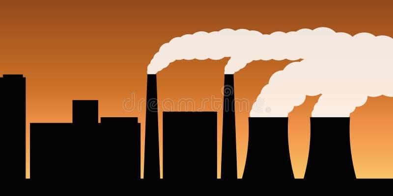 Σκιαγραφία πόλεων με την αιθαλομίχλη ατμοσφαιρικής ρύπανσης βιομηχανίας και την επιβλαβή εκπομπή καυσαερίων απεικόνιση αποθεμάτων