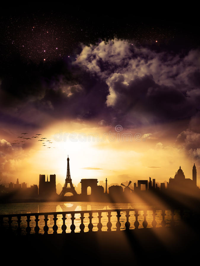 Σκιαγραφία πόλεων του Παρισιού, Γαλλία στοκ φωτογραφία