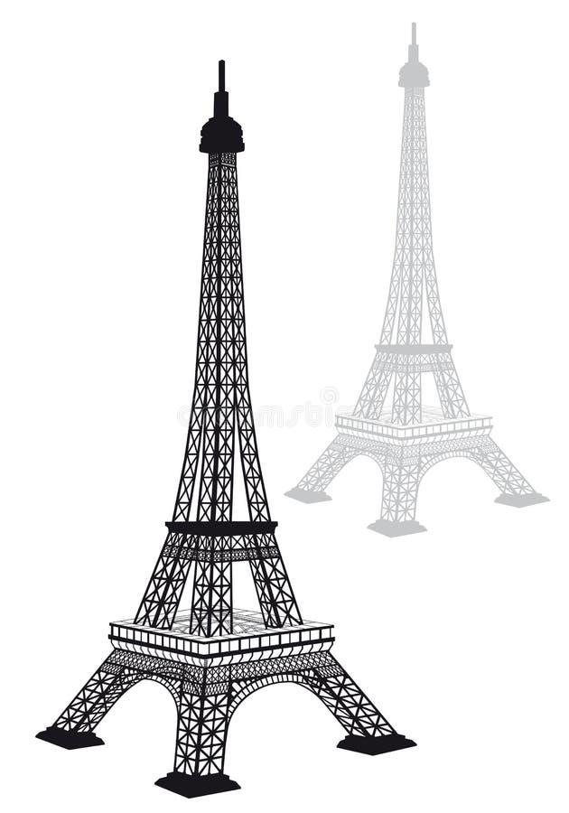 Σκιαγραφία πύργων του Άιφελ, διάνυσμα ελεύθερη απεικόνιση δικαιώματος