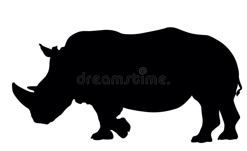 Σκιαγραφία ρινοκέρων διανυσματική απεικόνιση