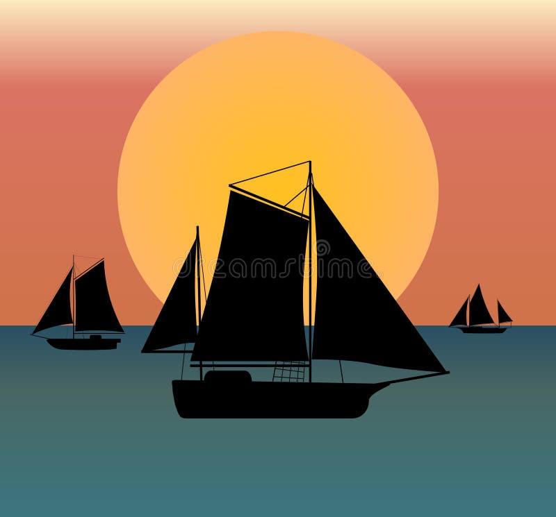 Σκιαγραφία σκαφών στη θάλασσα ελεύθερη απεικόνιση δικαιώματος