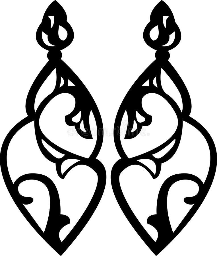 Σκιαγραφία σκουλαρικιών πολυελαίων κοριτσιών ` s ελεύθερη απεικόνιση δικαιώματος