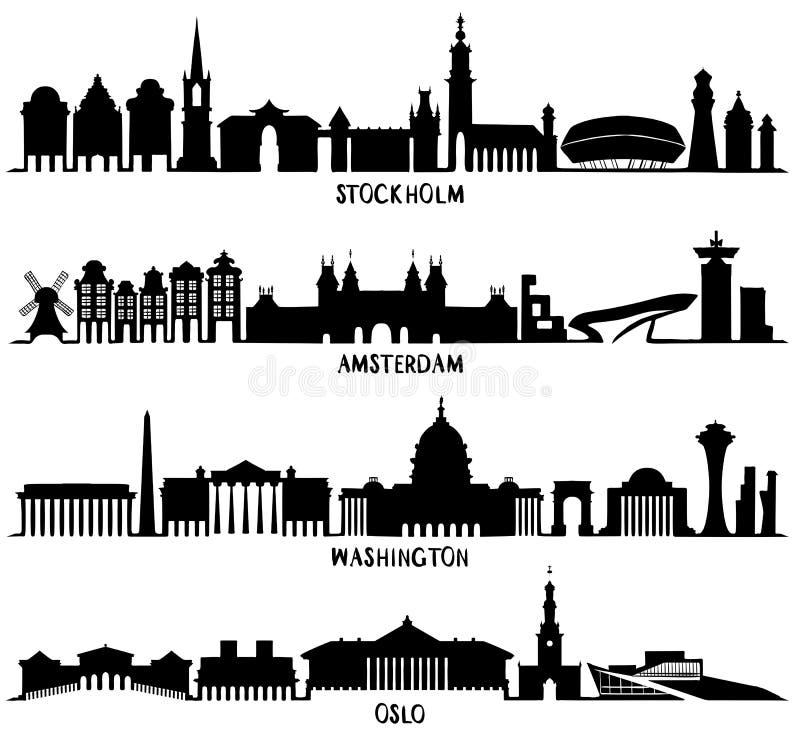 σκιαγραφία Στοκχόλμη, Άμστερνταμ, Ουάσιγκτον, Όσλο ελεύθερη απεικόνιση δικαιώματος