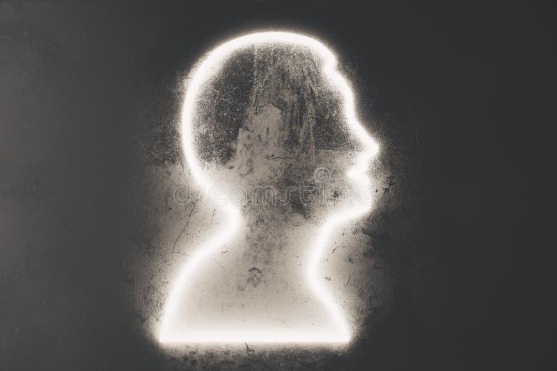 Σκιαγραφία σχεδιαγράμματος ενός ατόμου στο μαύρο συμπαγή τοίχο στοκ φωτογραφίες