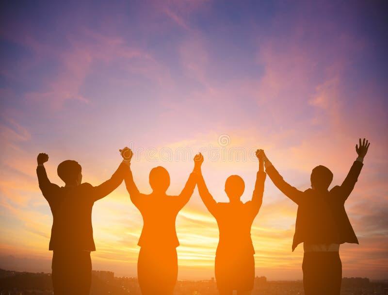 Σκιαγραφία της έννοιας επιχειρησιακών ομάδων επιτυχίας στοκ εικόνες