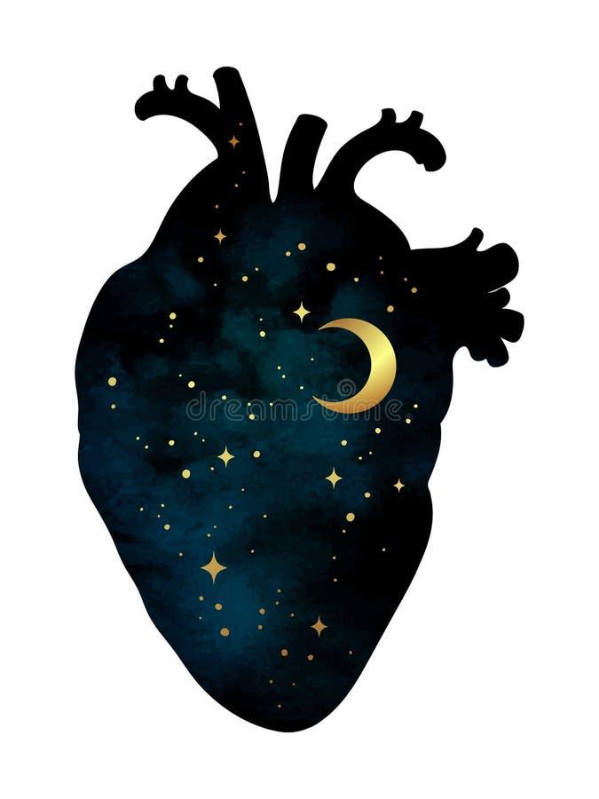 Σκιαγραφία της ανθρώπινης καρδιάς με τον κόσμο μέσα Ημισεληνοειδή φεγγάρι και αστέρια Διανυσματικό isola απεικόνισης σχεδίου αυτο διανυσματική απεικόνιση