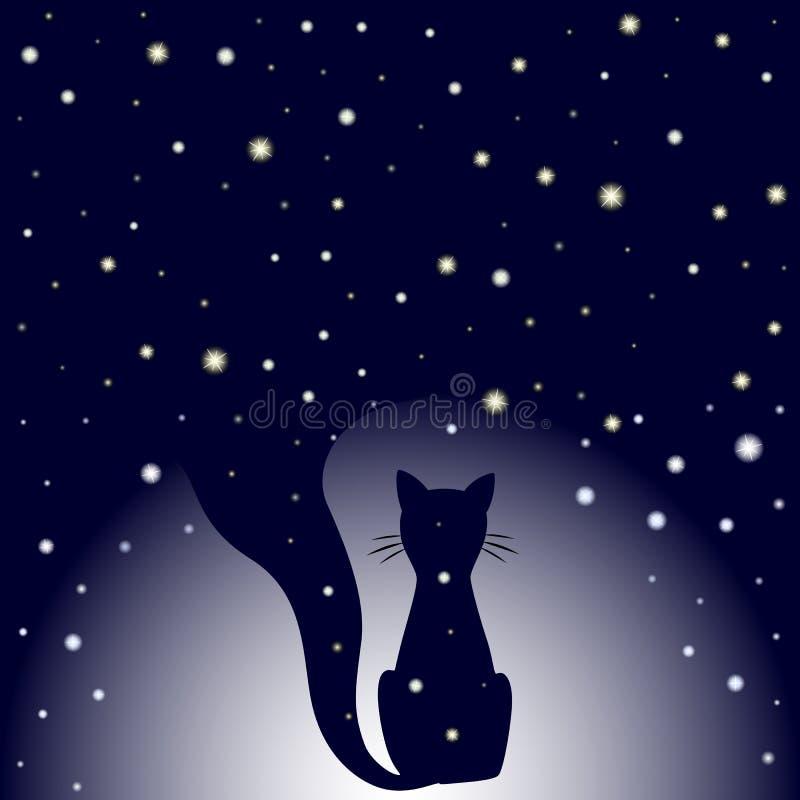 Σκιαγραφία της γάτας συνεδρίασης στο σκούρο μπλε υπόβαθρο νυχτερινού ουρανού με τα αστέρια διανυσματική απεικόνιση