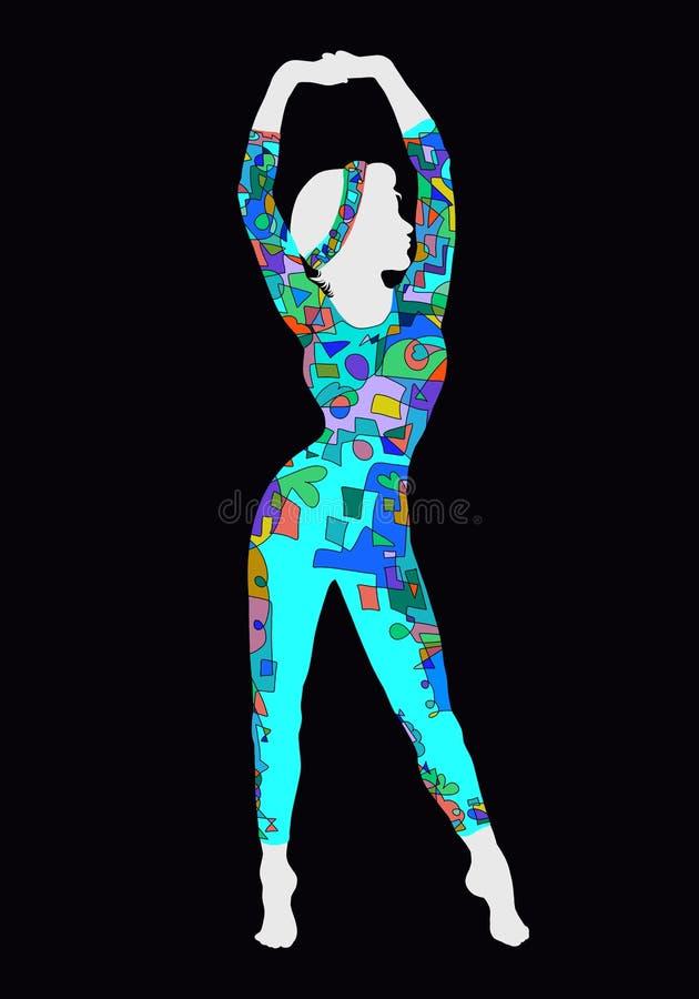 Σκιαγραφία της γοητείας της λεπτής γυναίκας απεικόνιση αποθεμάτων