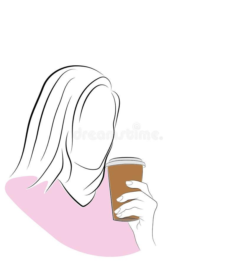 Σκιαγραφία της γυναίκας με τον καφέ για να πάει επίσης corel σύρετε το διάνυσμα απεικόνισης διανυσματική απεικόνιση