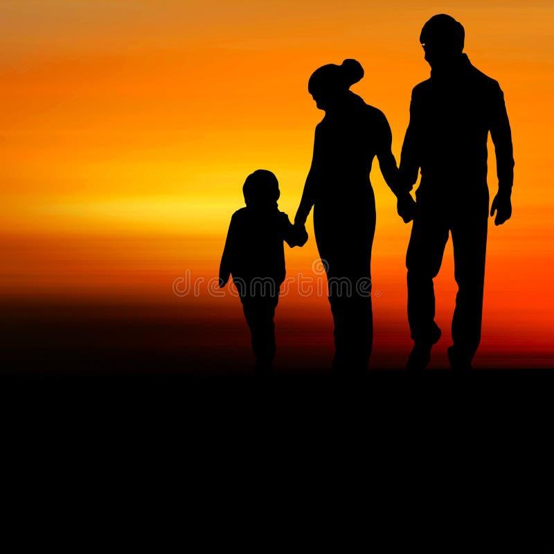 Σκιαγραφία της ευτυχούς οικογένειας ελεύθερη απεικόνιση δικαιώματος