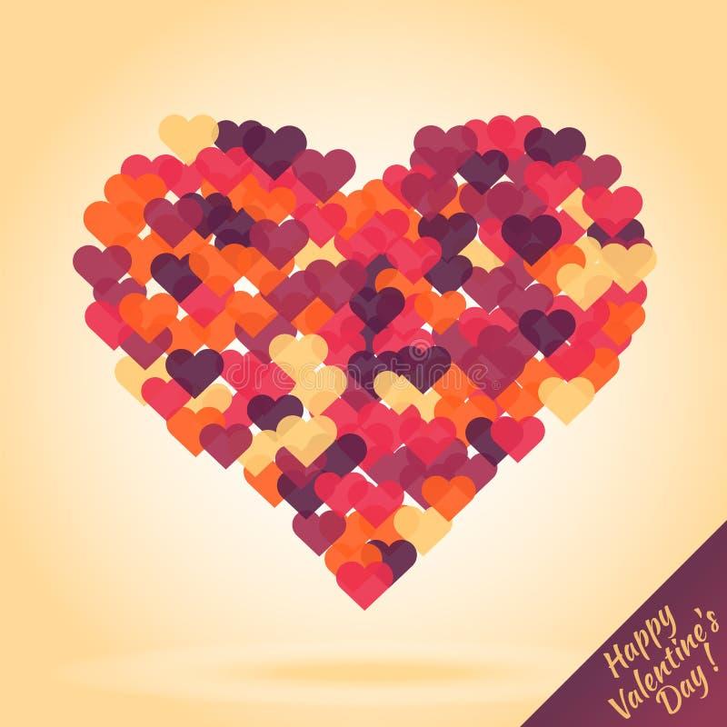 Σκιαγραφία της καρδιάς από τις μικρές καρδιές ελεύθερη απεικόνιση δικαιώματος