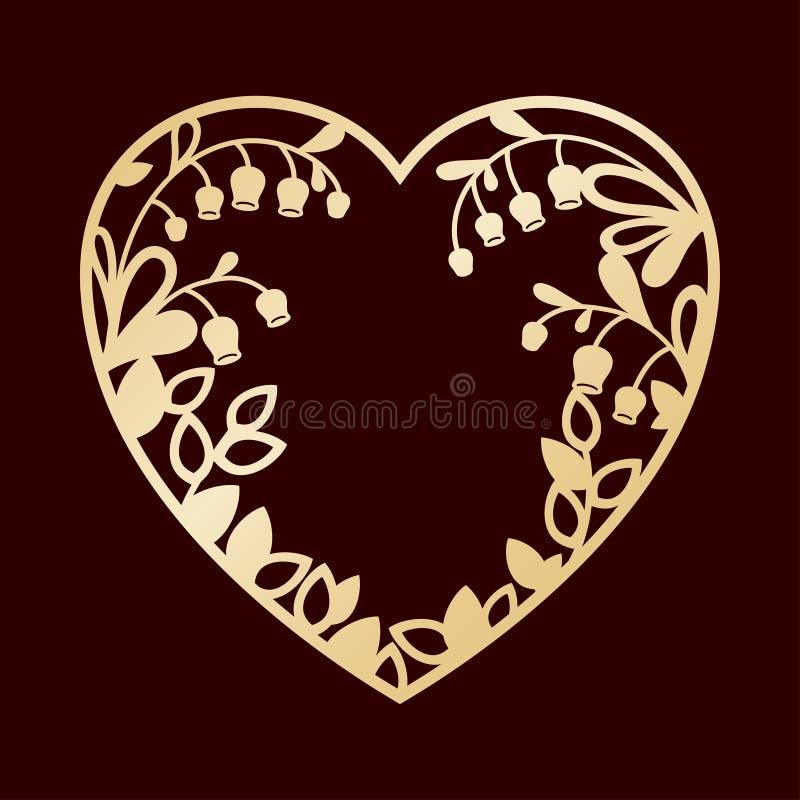 Σκιαγραφία της καρδιάς με τους κρίνους της κοιλάδας Κοπής ή λέιζερ πρότυπο διανυσματική απεικόνιση