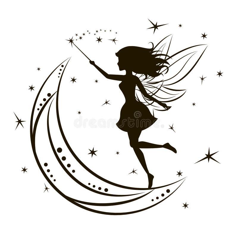 Σκιαγραφία της νεράιδας με το φεγγάρι και τα αστέρια διανυσματική απεικόνιση