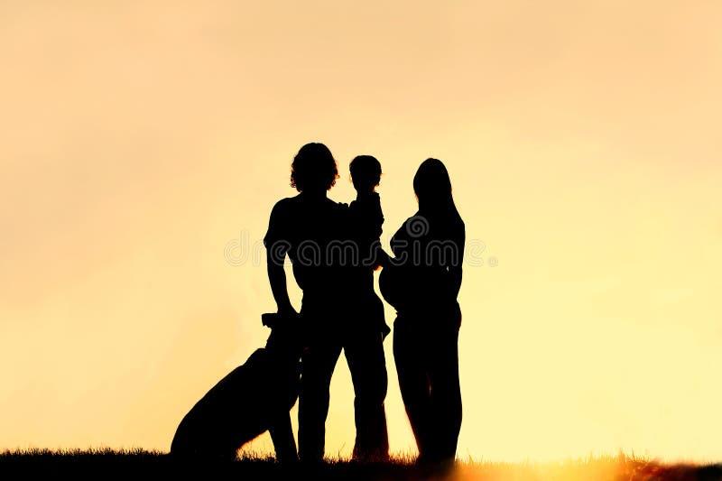 Σκιαγραφία της οικογένειας με το σκυλί και την έγκυο μητέρα στο ηλιοβασίλεμα στοκ εικόνα
