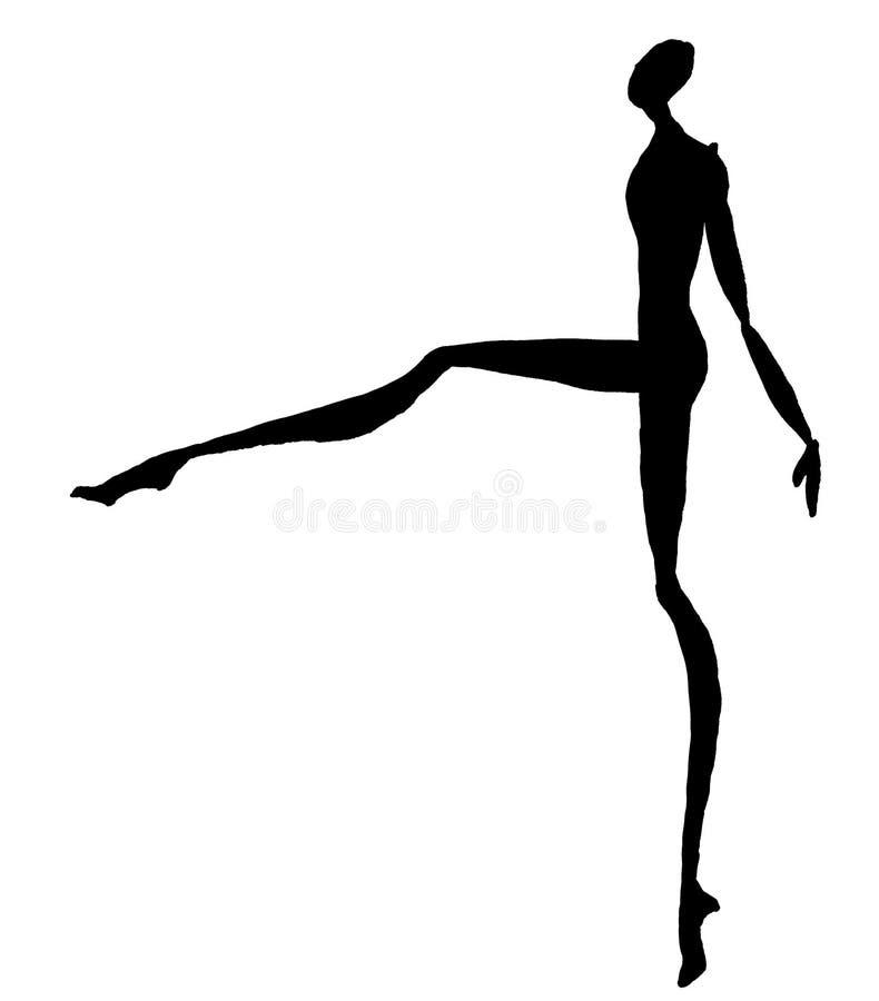 Σκιαγραφία της χορεύοντας γυναίκας ελεύθερη απεικόνιση δικαιώματος