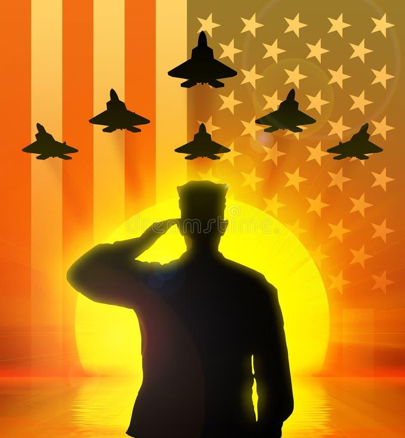 Σκιαγραφία του αμερικανικού στρατιώτη που χαιρετίζεται στοκ εικόνες