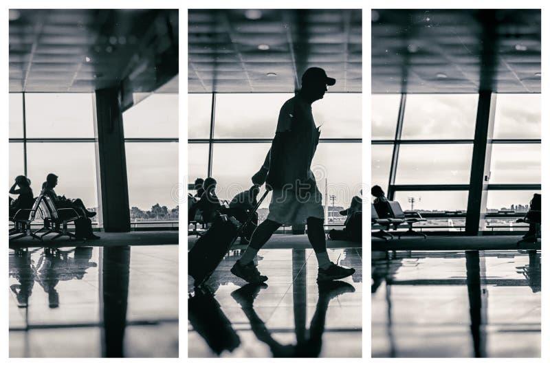 Σκιαγραφία του ατόμου στον αερολιμένα με τις αποσκευές στοκ εικόνα με δικαίωμα ελεύθερης χρήσης