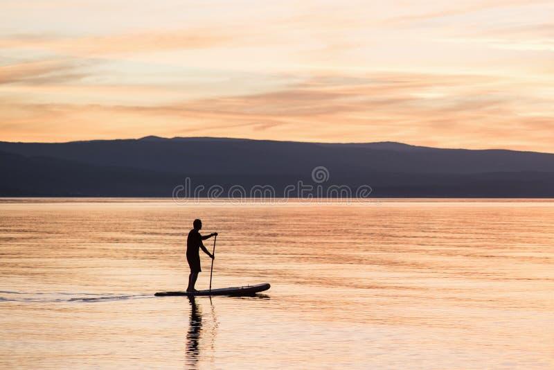 Σκιαγραφία του ατόμου στο ηλιοβασίλεμα που στέκεται στον πίνακα κουπιών Δραστηριότητα ελεύθερου χρόνου θερινών παραλιών στοκ εικόνες με δικαίωμα ελεύθερης χρήσης