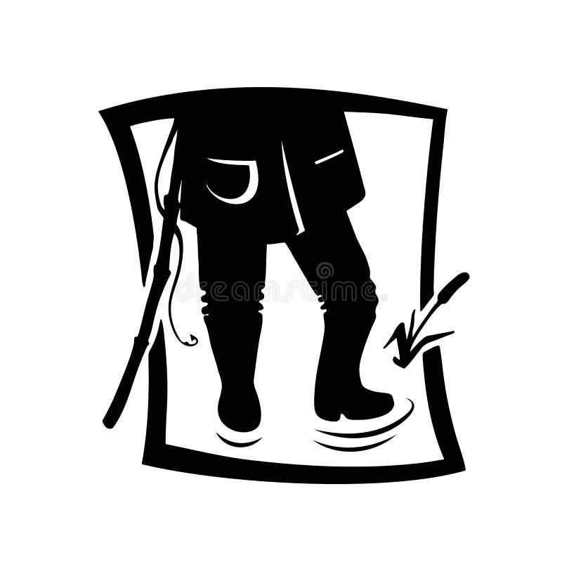 Σκιαγραφία του ατόμου ψαράδων ελεύθερη απεικόνιση δικαιώματος