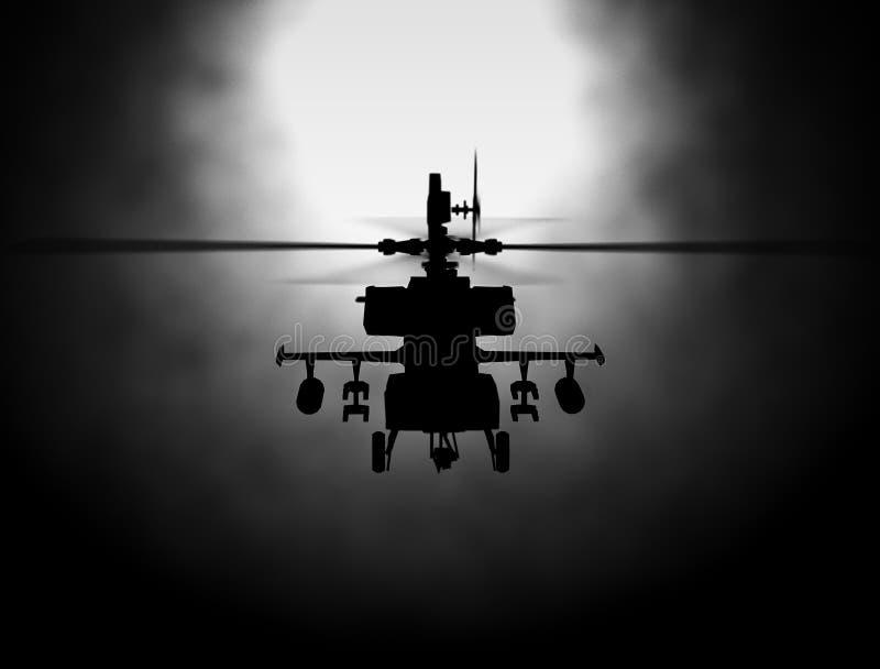 Σκιαγραφία του ελικοπτέρου, διαδικασίες ελικοπτέρων διάσωσης στρατιωτών στο υπόβαθρο ουρανού ηλιοβασιλέματος Copter στην αιθαλομί ελεύθερη απεικόνιση δικαιώματος