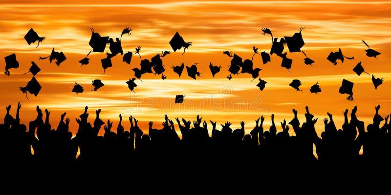 Σκιαγραφία του εορτασμού σπουδαστών στοκ εικόνες