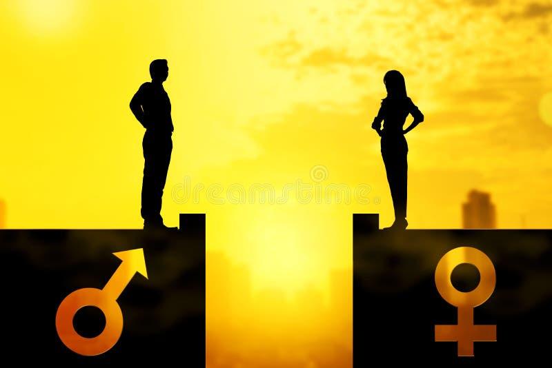 Σκιαγραφία του επιχειρηματία και της επιχειρηματία που στέκονται στη στέγη με το ίδιο ύψος διανυσματική απεικόνιση
