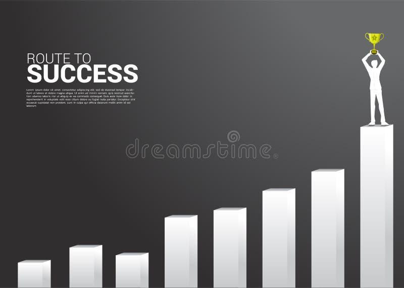 Σκιαγραφία του επιχειρηματία με το τρόπαιο πρωτοπόρων πάνω από τη γραφική παράσταση αύξησης Έννοια της επιχείρησης αύξησης, επιτυ διανυσματική απεικόνιση