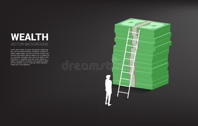 Σκιαγραφία του επιχειρηματία που στέκεται με το σωρό του τραπεζογραμματίου και της σκάλας διανυσματική απεικόνιση
