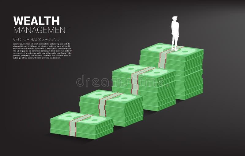 Σκιαγραφία του επιχειρηματία που στέκεται πάνω από τη γραφική παράσταση αύξησης με το σωρό του τραπεζογραμματίου ελεύθερη απεικόνιση δικαιώματος