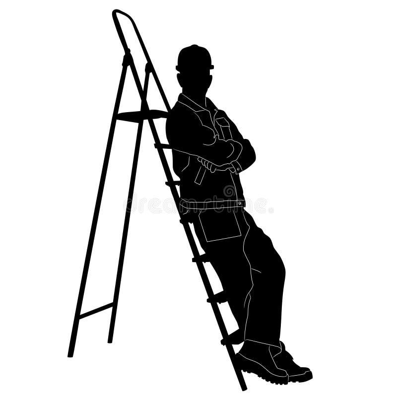 Σκιαγραφία του εργαζομένου με το stepladder απεικόνιση αποθεμάτων