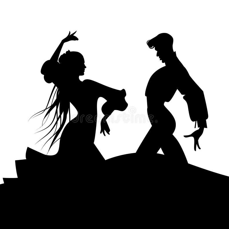 Σκιαγραφία του ζεύγους των χαρακτηριστικών ισπανικών flamenco χορευτών ελεύθερη απεικόνιση δικαιώματος