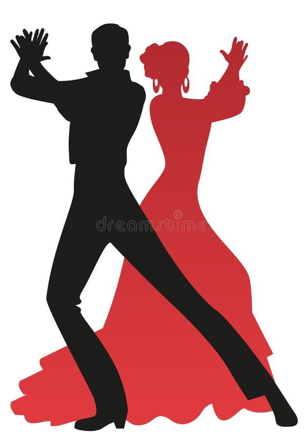 Σκιαγραφία του ζεύγους flamenco των χορευτών που παίζουν τους φοίνικες, που απομονώνεται στο άσπρο υπόβαθρο διανυσματική απεικόνιση
