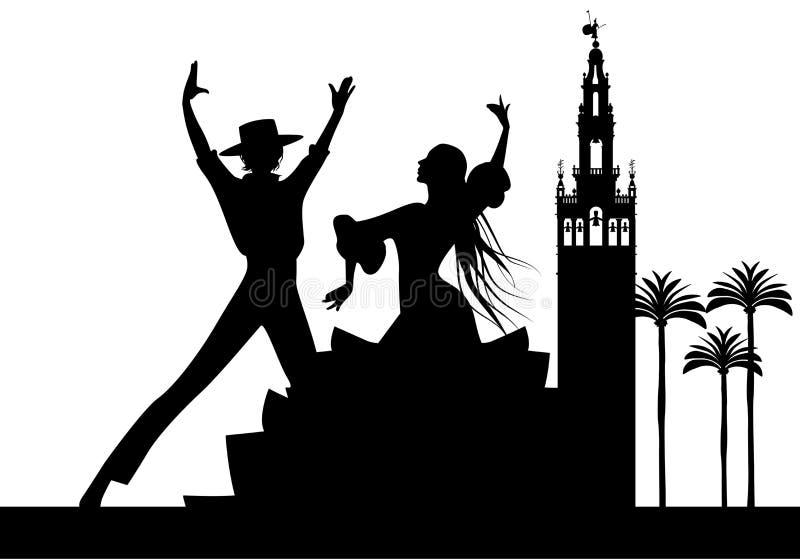 Σκιαγραφία του ισπανικού flamenco ζεύγους, των φοινίκων και των μνημείων χορευτών στη Σεβίλη διανυσματική απεικόνιση