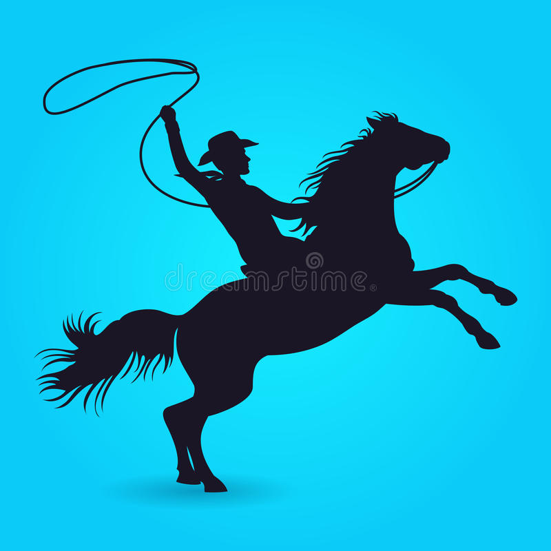 Σκιαγραφία του κάουμποϋ με το λάσο που οδηγά στο άλογο ελεύθερη απεικόνιση δικαιώματος