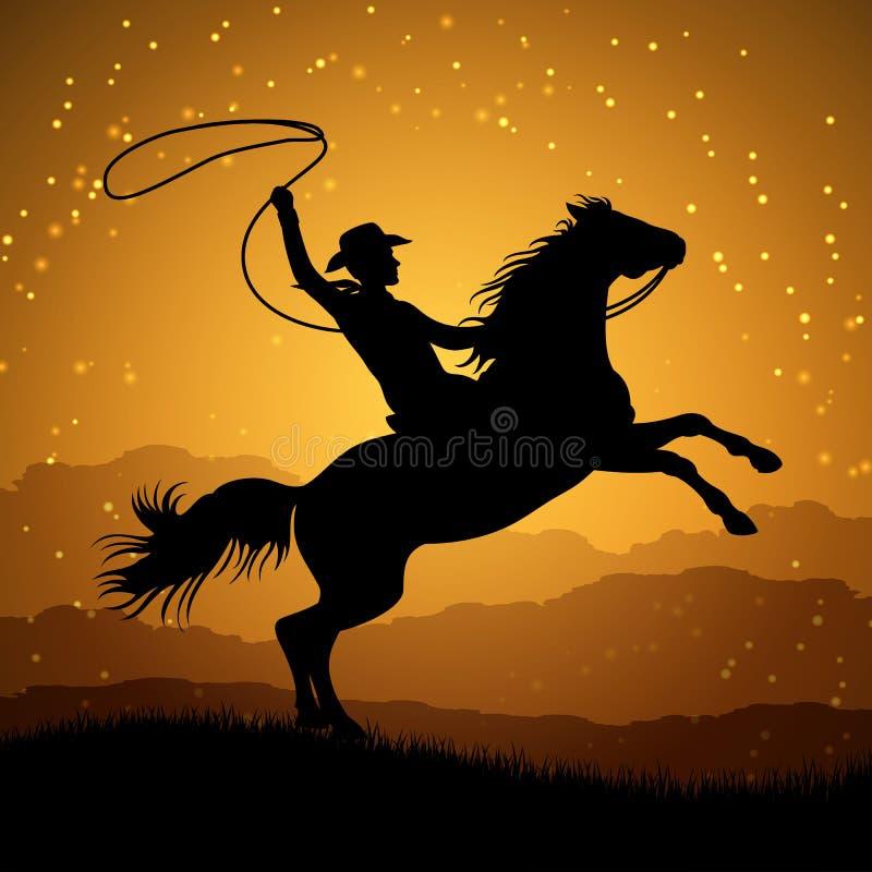 Σκιαγραφία του κάουμποϋ με το λάσο στην εκτροφή του αλόγου διανυσματική απεικόνιση