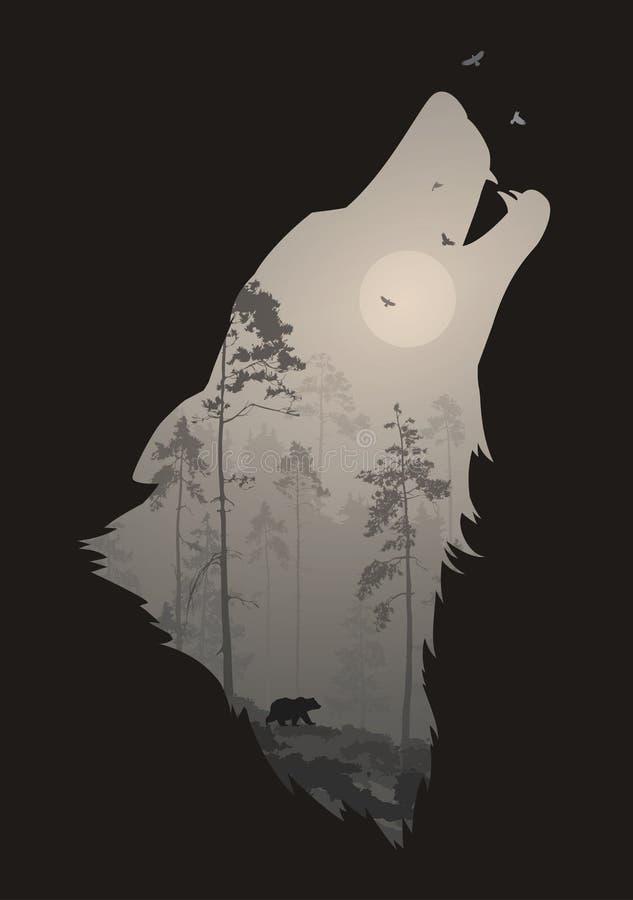Σκιαγραφία του κεφαλιού του ουρλιάζοντας λύκου διανυσματική απεικόνιση