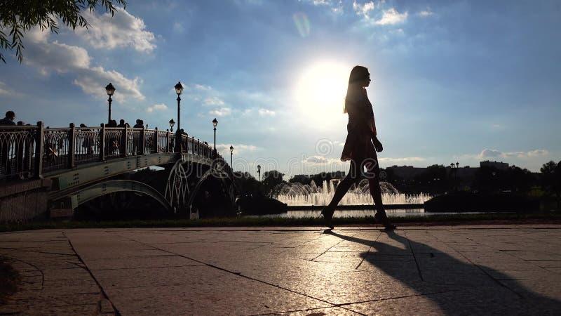 Σκιαγραφία του κοριτσιού elegeng στα υψηλά τακούνια που περπατούν στο ηλιόλουστο ανάχωμα πάρκων στοκ εικόνες