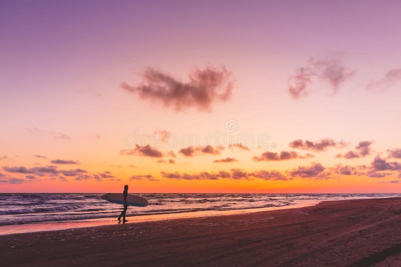 Σκιαγραφία του κοριτσιού surfer με την ιστιοσανίδα σε μια παραλία στο ηλιοβασίλεμα Surfer και ωκεανός στοκ εικόνες